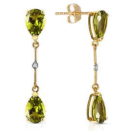 14K Solid Gold Diamonds & Peridots Dangling Earrings