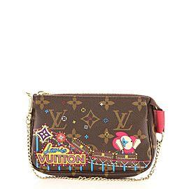Louis Vuitton Pochette Accessoires Limited Edition Vivienne Xmas Monogram Canvas Mini