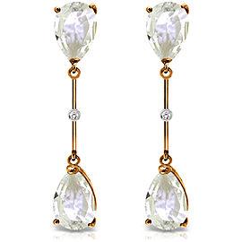 14K Solid Rose Gold Diamonds & White Topaza Dangling Earrings