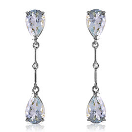 14K Solid White Gold Diamonds & Aquamarines Dangling Earrings