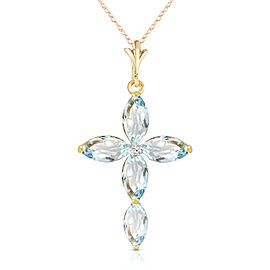 14K Solid Gold Necklace with Natural Diamond & Aquamarines