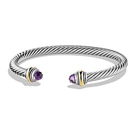 David Yurman Silver Cable Classic Bracelet With Amethyst And 14k Gold