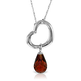 14K Solid White Gold Heart Necklace with Dangling Natural Garnet