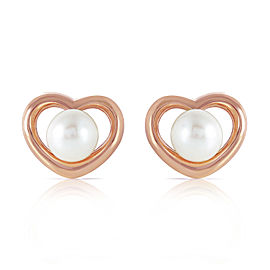 14K Solid Rose Gold Heartstud Earrings with Natural Cultured Pearls