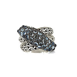John Hardy Sterling Silver Classic Chain London Blue Topaz Overlap Ring Size 7