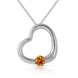 14K Solid White Gold Heart Necklace with Natural Citrine