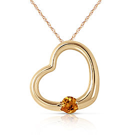 14K Solid Gold Heart Necklace with Natural Citrine
