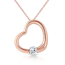14K Solid Rose Gold Heart Necklace with Natural Diamond