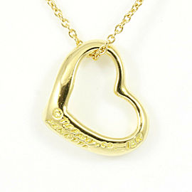 Tiffany & Co. 18K Yellow Gold Open Heart Pendant Necklace CHAT-27