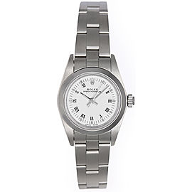 Rolex Oyster Perpetual 76080 Stainless Steel White Dial 24mm Womens Watch