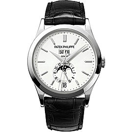 Patek Philippe 18K White Gold with Silvery Opaline Dial 38mm Mens Watch