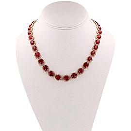 14K Yellow Gold Ruby Diamond Necklace
