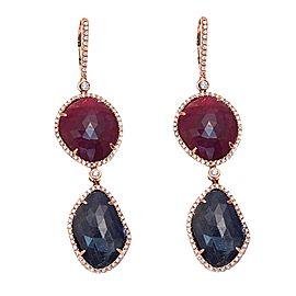 14K Rose Gold 39ct Blue Sapphire & Ruby 1.24ct Diamond Earrings