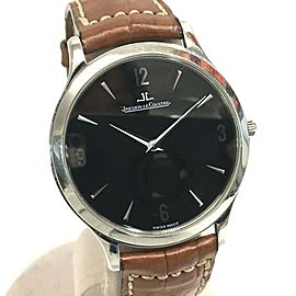 JAEGER-LECOULTRE 145.8.79.S Master Stainless Steel/Croco leather belt Ultra Slim Wrist watch