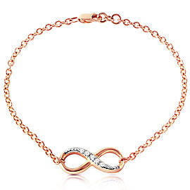 14K Solid Rose Gold Infiniti Bracelet with Natural Diamonds