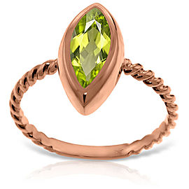 14K Solid Rose Gold Rings with Natural Marquis Peridot