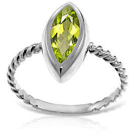 14K Solid White Gold Rings with Natural Marquis Peridot