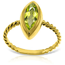 14K Solid Gold Rings with Natural Marquis Peridot