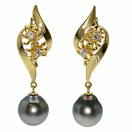 TASAKI 18K Yellow Gold Diamond Black Pearl Pearl Earring