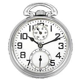 Elgin Railroad 14K White Gold 50mm Mens Pocket Watch