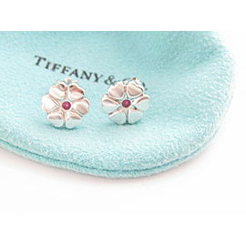 Tiffany & Co Silver Picasso Crown of Heart Pink Sapphire Flower Stud Earring NST-754