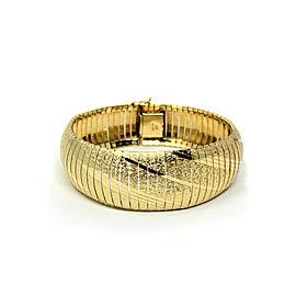 14k Solid Yellow Gold Wide Omega Link Bracelet
