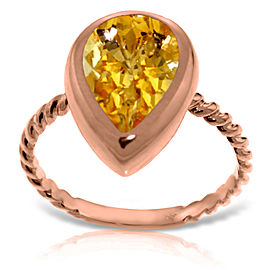 14K Solid Rose Gold Rings with Natural Cultured Pearll Shape Citrine