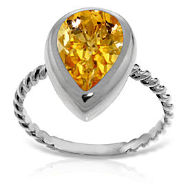 14K Solid White Gold Rings with Natural Cultured Pearll Shape Citrine