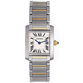 Cartier Tank Francaise W51007Q4 Stainless Steel & 18K Yellow Gold Quartz 20mm Womens Watch