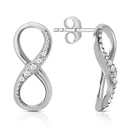 14K Solid White Gold Infiniti Earrings with Natural Diamonds