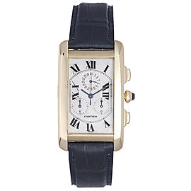 Cartier Tank Americaine 18K Yellow Gold & Leather Quartz 45mm Mens Watch