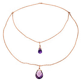 14K Solid Rose Gold Front And Back Drop Necklace with Briolette Amethysts