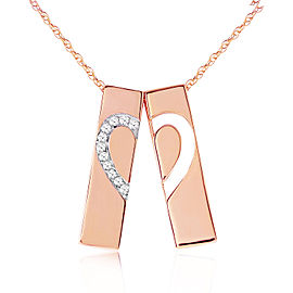14K Solid Rose Gold Split Heart Necklace with Natural Diamonds