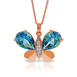 14K Solid Rose Gold Batterfly Necklace with Natural Diamonds & Blue Topaz