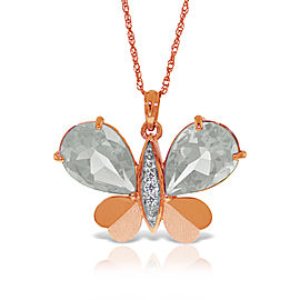 14K Solid Rose Gold Batterfly Necklace with Natural Diamonds & White Topaz