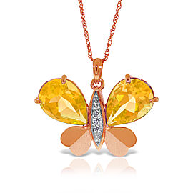 14K Solid Rose Gold Batterfly Necklace withNatural Diamonds & Citrines