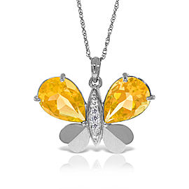 14K Solid White Gold Batterfly Necklace withNatural Diamonds & Citrines