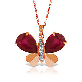 14K Solid Rose Gold Batterfly Necklace withNatural Diamonds & Ruby