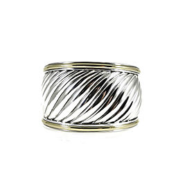 David Yurman Wide Cable Carved Cuff Bracelet Sterling Silver 18K Yellow Gold