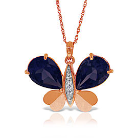 14K Solid Rose Gold Batterfly Necklace with Natural Diamonds & Sapphires