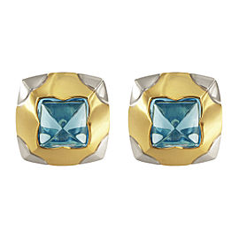 Bulgari Piramide 18k Yellow & White Gold Blue Topaz Earrings
