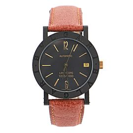 Bvlgari Las Vegas Automatic Watch Carbon and Leather 34