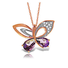 14K Solid Rose Gold Batterfly Necklace with Natural Diamonds & Amethysts