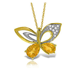 14K Solid Gold Batterfly Necklace withNatural Diamonds & Citrines