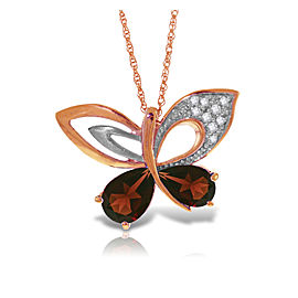 14K Solid Rose Gold Batterfly Necklace withNatural Diamonds & Garnets