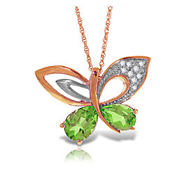 14K Solid Rose Gold Batterfly Necklace with Natural Diamonds & Peridots