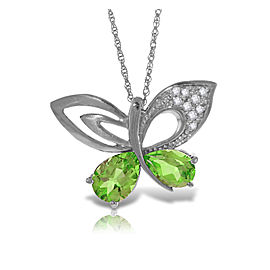 14K Solid White Gold Batterfly Necklace with Natural Diamonds & Peridots
