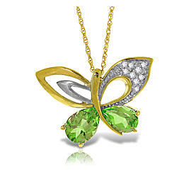 14K Solid Gold Batterfly Necklace with Natural Diamonds & Peridots