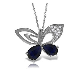 14K Solid White Gold Batterfly Necklace with Natural Diamonds & Sapphires