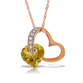 14K Solid Rose Gold Heart Necklace withNatural Diamond & Citrine